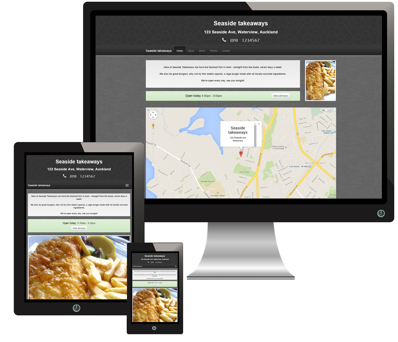 A Chip Shop website displayed on different devices